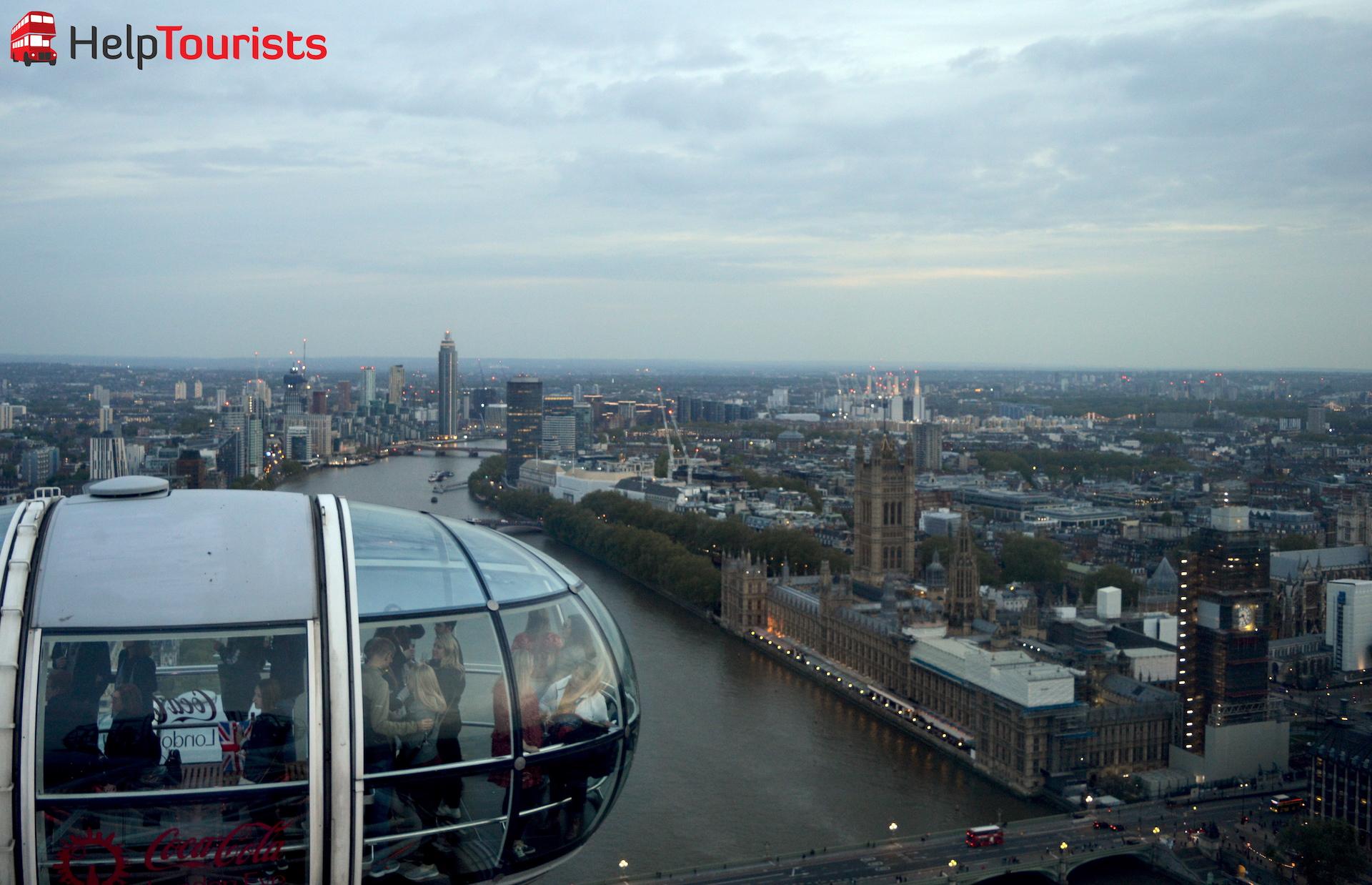 Blick auf Westminster Palace von Coca Cola London Eye