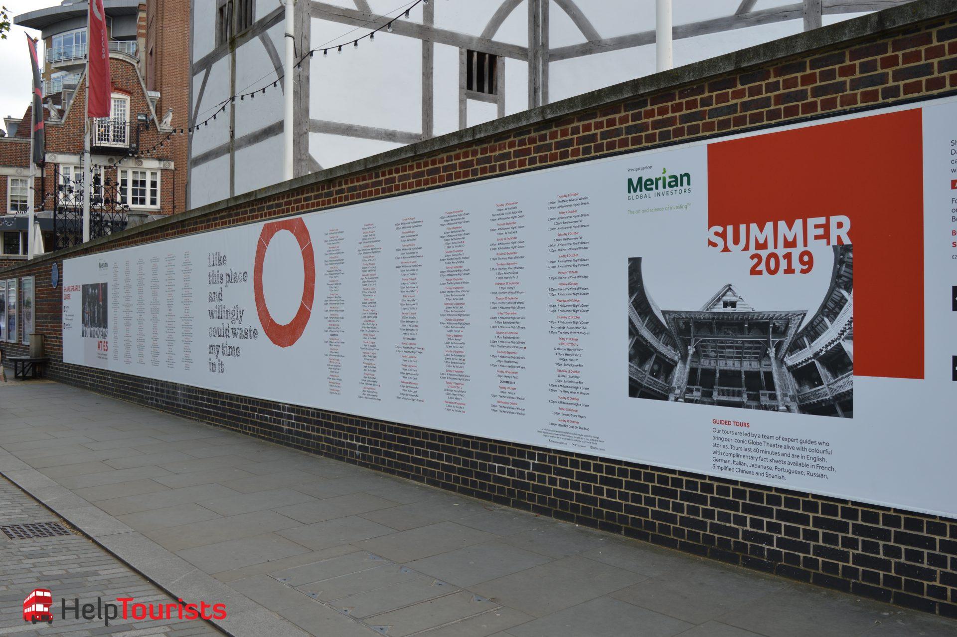 Shakespeare's Globe London Programm