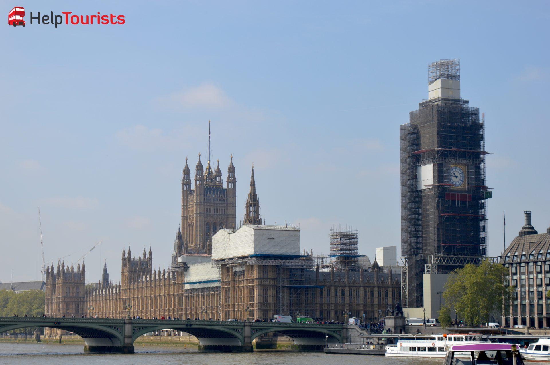 Westminster Palace und Big Ben Bauarbeiten London