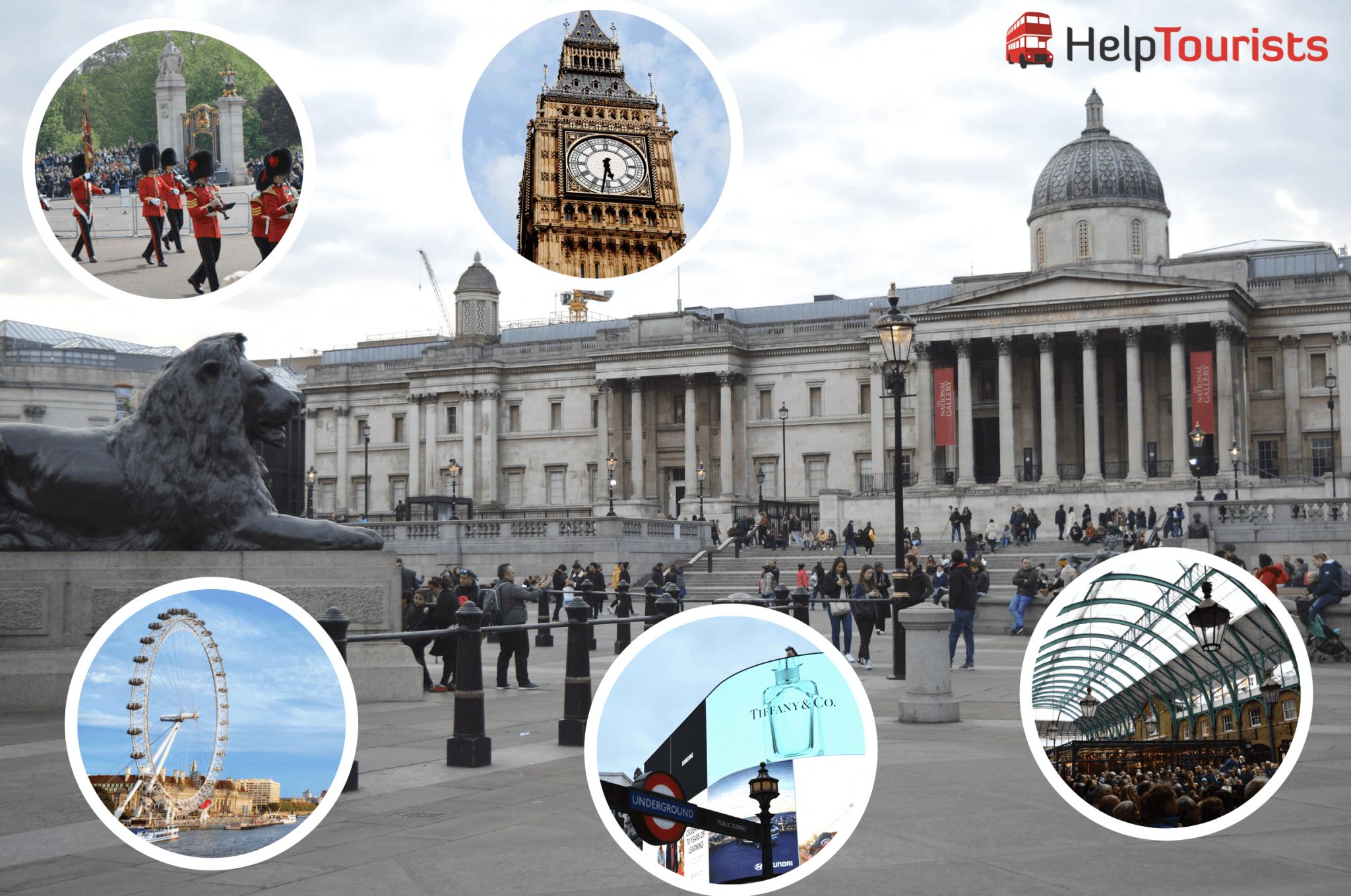 Trafalgar Square London mit Sehenswürdigkeiten in der Nähe
